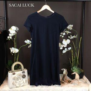 Sacai Dresses & Skirts - Sacai Luck Navy Back Pleated T-Shirt Dress