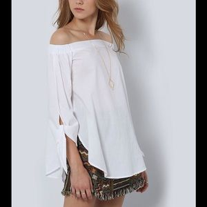  White Off the Shoulder Bowknot Top, 3/4 Sleeves
