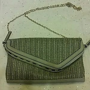 New boutique purchase purse grey w/gold hardware