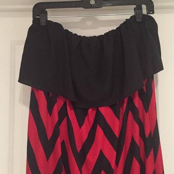 Black and red chevron maxi dress