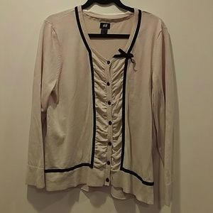 H&M Cream Cardigan with Black Velvet Detail