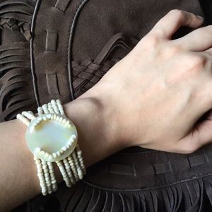 Mother of Pearl Beaded Stretch Bracelet