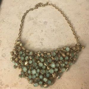 Mute Gold Mint Crystal Bib Statement Necklace