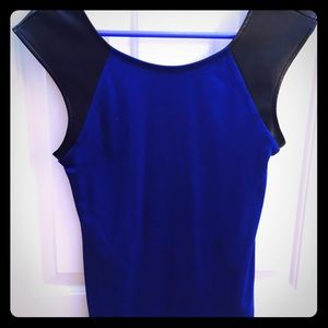 Express Blue Top With Leather Sleeves