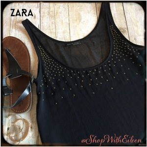 Zara Tops - 🆕 Zara W&B Collection Black &Gold Stud Tank
