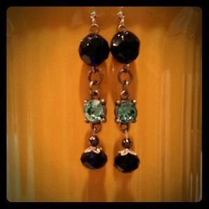 Mine  Jewelry - Handcrafted royal n aqua crystal n glass dangles