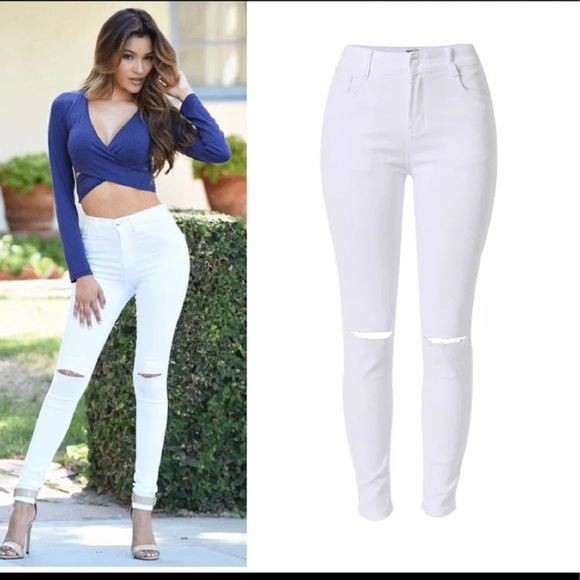 NWT high waisted white skinny jeans US size 10-12 10-12 from ...