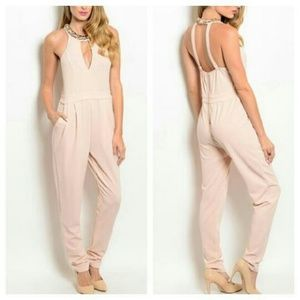 Boutique Pants - Cream and Gold Jumpsuit OFFERS WELCOMED
