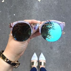 Mirrored Sunglasses With Smoky Patterned Browline