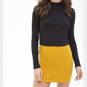 Golden Yellow Mini Bodycon Skirt