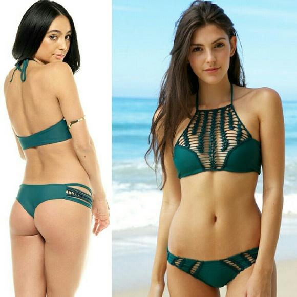 1780afef79d88 New acacia seaweed panama crochet bikini top green
