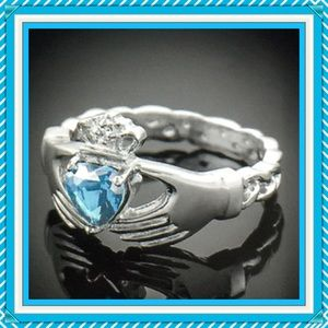 Jewelry - 🌺🌴 NWOT:  STERLING AQUAMARINE CLADDAGH RING 🌴🌺