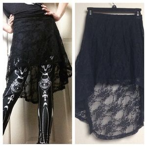 Hot Topic Dresses & Skirts - Black Lace Sheer Highlow Asymmetrical Skirt Mini S