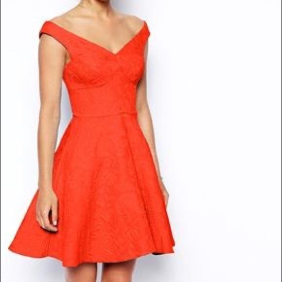 3d1a9d1749a5 ASOS Dresses   Skirts - Asos Red Textured Skater Dress ❤ Size 6