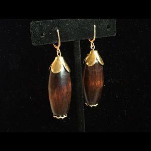 Jewelry - Classic Vintage Boho Wood Pendant Dangle Earrings