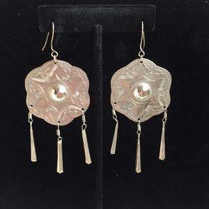 Jewelry - Vintage Silver Tone Large Boho Dangle Earrings.