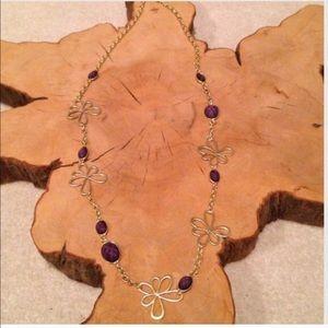 """Jewelry - """"New"""" Very Pretty Goldtone Purple Necklace"""