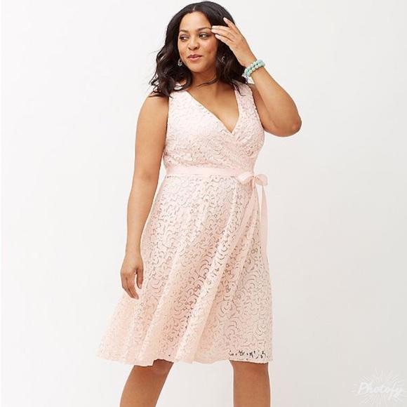 395883c279b NWT Lane Bryant Pink Lace Fit   Flare Dress!