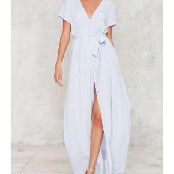 eee3fec229c Nasty Gal Baby Blue Maxi Wrap Dress. M 57604a017fab3afdba05f746