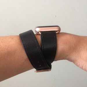 other rose gold black apple watch double tour band