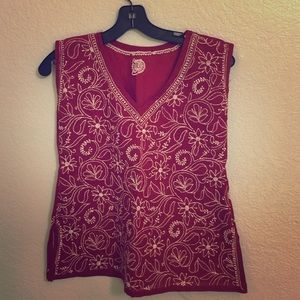 Tops - Red top with authentic Indian chikan embroidery