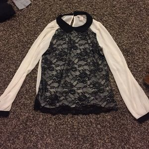 Mesh lace long sleeve top