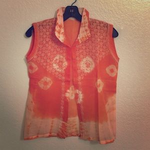 Tops - Tie dry orange top with chikan embroidery