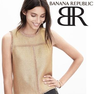 ⭐️HP⭐️ Banana Republic Gold Tweed Fringe Tank