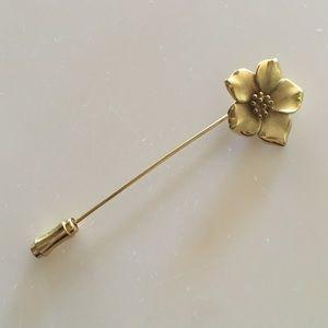 Trifari Jewelry - Trifari Dogwood Magnolia Gold Flower Stick Pin