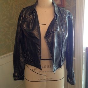 Jou Jou Jackets & Blazers - Metallic biker Moto jacket