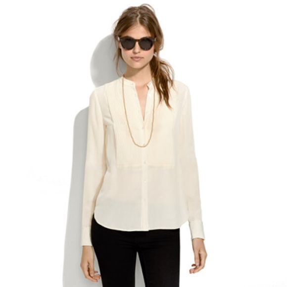 f32af4277476fa Madewell Tops - MADEWELL collarless ivory silk blouse