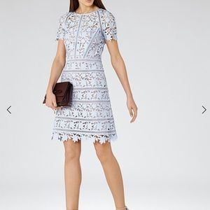 Reiss orchid lace dress, size 2 ice blue NWT
