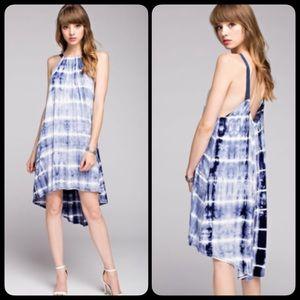 Dresses & Skirts - Tie dye Blue Boho Swing Open Back High Low Dress