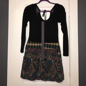 Black Mini Dress w/ multi pattern plaid bottom