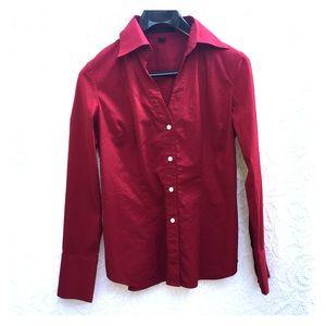 Express Tops - Express Red Button Down Shirt