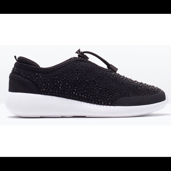 Zara Black Rhinestone Studded Sneakers