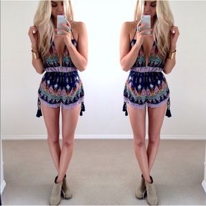 The SEYLA BLUE tassel romper - PURPLE MIX