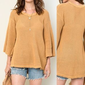 Sweaters - Bell Sleeve Knit Sweater- HONEY