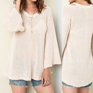 Sweaters - Bell Sleeve Knit Sweater- CREAM