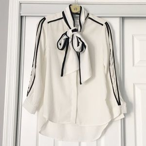Tie neck white blouse