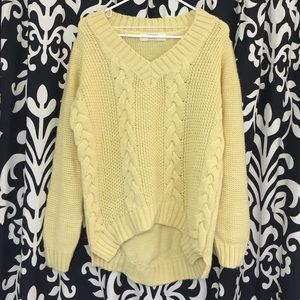 Zara cable knit yellow sweater
