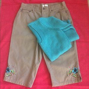 Christopher & Banks Pants - Embellished Khaki Capris Never Worn