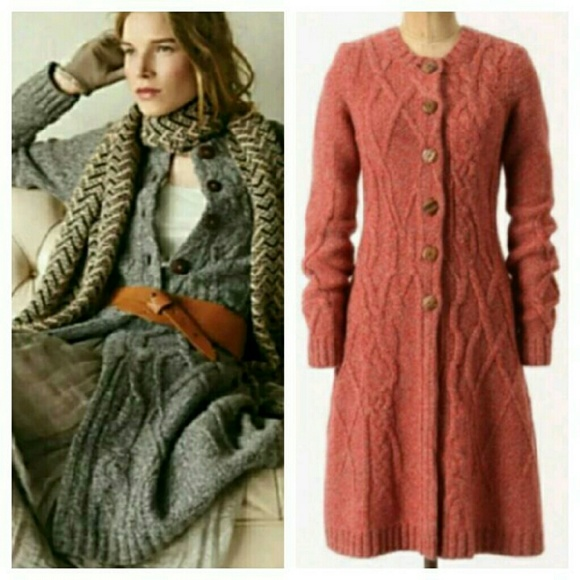 Anthropologie - Red Anthropologie coiled cable knit sweater coat ...