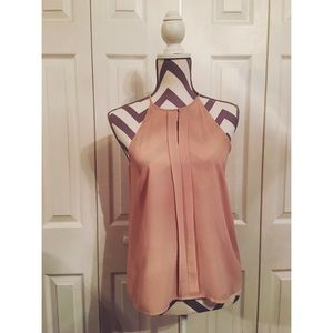 Dusty Pink Flowy Pleated Center Tank Top