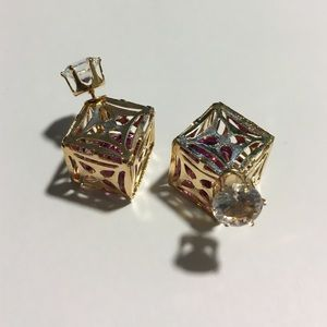 T&J Designs Jewelry - 🆕 Purple Stone Gold Square Double Sided Earrings