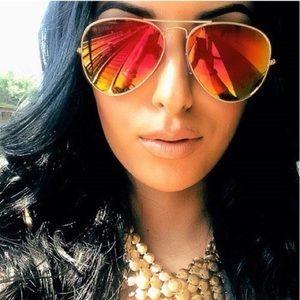 Accessories - Red, Yellow & Gray Mirrored Aviator Sunglasses 💥