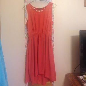 Coral, caged back dress