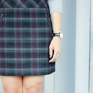 Loft plaid maroon red grey skirt