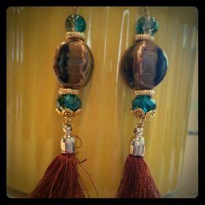 Mine  Jewelry - Brown teal/aqua tassel dangles with gold n porcela