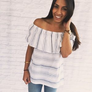Dee Elle Tops - Off The Shoulder Top with Navy Stripes